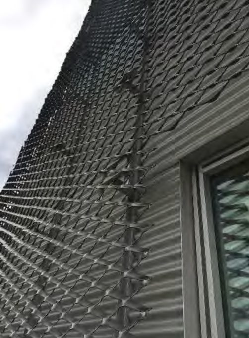 Building Close up with metal mesh