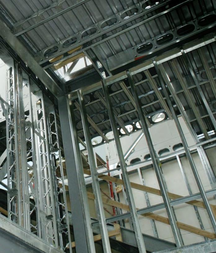 Interior steel beams