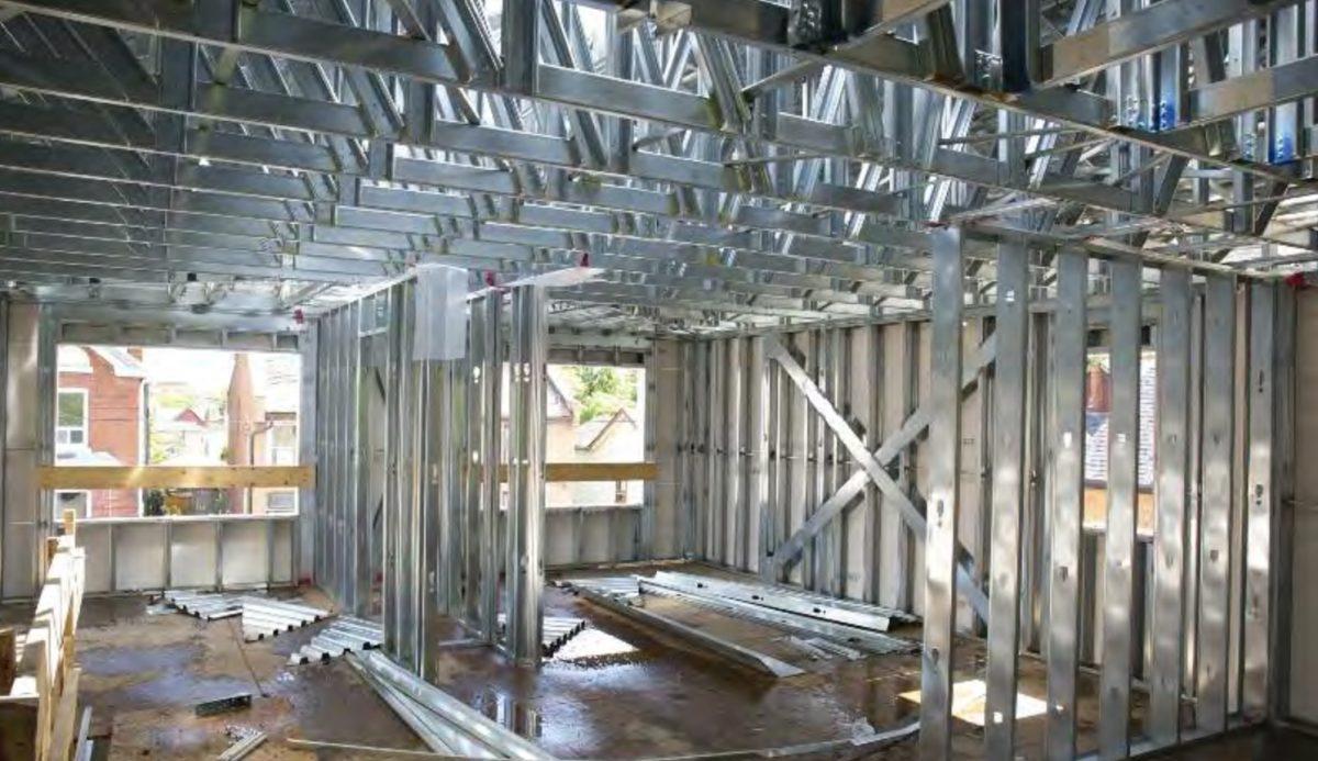 Interior view of buildings steel beams